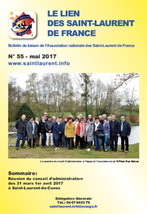 Lien N°55 - bulletin de liaison des Saint-Laurent de France - mai 2017