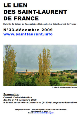 Lien N° 33 - Bulletin de liaison des Saint-Laurent de France