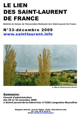 Lien N° 33 - Bulletin de liaison des Saint-Laurent de France