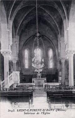 Vue intérieure de la nef avant 1965