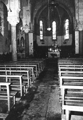 Vue intérieure de la nef après 1965