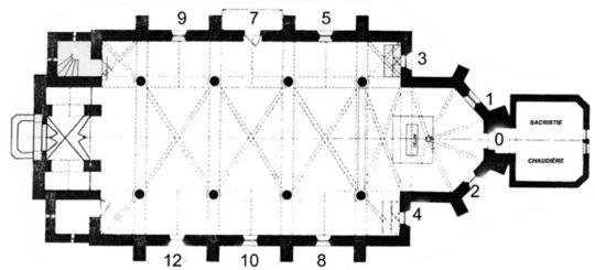 Plan de l'église et repérage des vitraux.