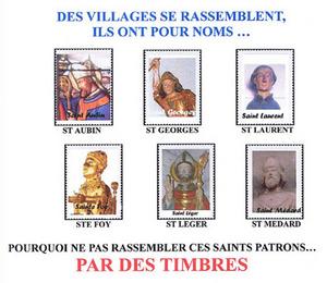 Les Saint Léger de France lancent l'opération: Carnet de timbres des Saints qui se rassemblent.