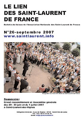 Lien N°26 - bulletin de liaison des Saint-Laurent de France.