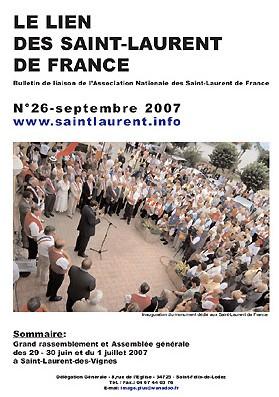 Lien N°26 - bulletin de liaison des Saint-Laurent de France.