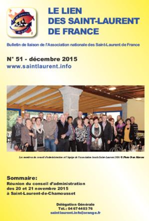 Lien N°51- bulletin de liaison des Saint-Laurent de France - décembre 2015