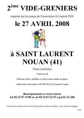 2ème vide-greniers à Saint-Laurent-Nouan (41).