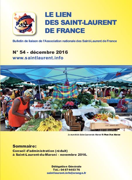 Lien N°54 - bulletin de liaison des Saint-Laurent de France - décembre 2016