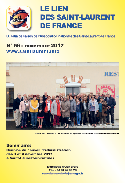 Lien N°56 - bulletin de liaison des Saint-Laurent de France - novembre 2017