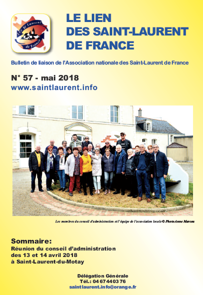 Lien n°57 - bulletin de liaison des Saint-Laurent-de-France - mai 2018