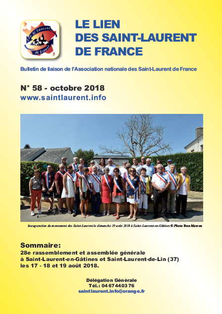 Lien n°58 - bulletin de liaison des Saint-Laurent-de-France - octobre 2018