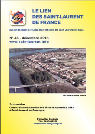 Lien N° 45 - Bulletin de liaison des Saint-Laurent de France