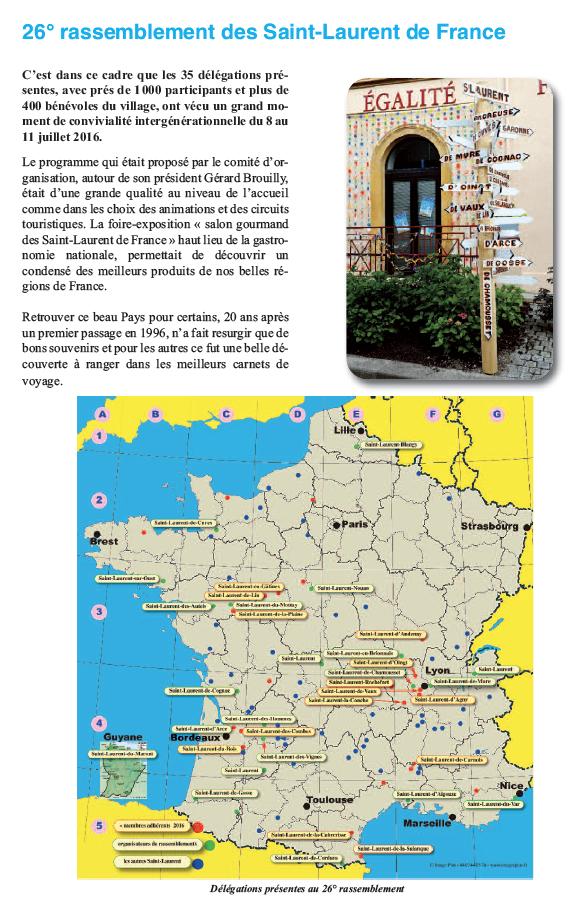 26° Rassemblement des Saint-Laurent de France - SL de Chamousset - 8 au 11 juillet 2016