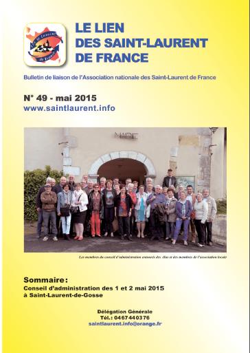 Lien N° 49 - Bulletin de liaison des Saint-Laurent de France