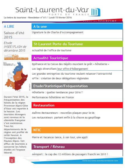 Saint-Laurent-du-Var - La lettre du tourisme – Newsletter n° 61 / Lundi 15 février 2016