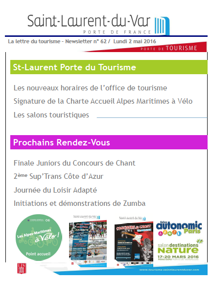 Saint-Laurent-du-Var - La lettre du tourisme – Newsletter n° 62/ Lundi 2 mai 2016