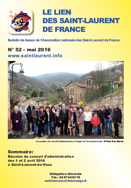 Lien N°52 - bulletin de liaison des Saint-Laurent de France - mai 2016